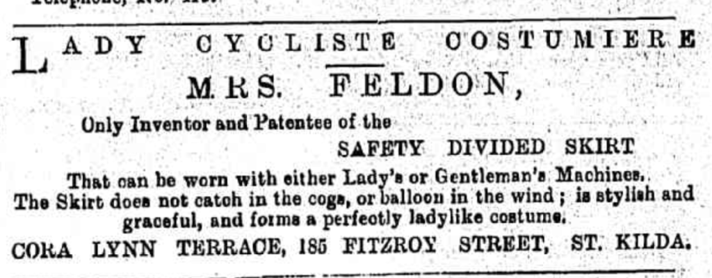 Mrs Feldon's advertisement in the Jewish Herald 1897