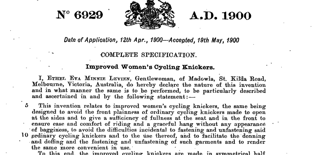 Part of Ethel Levien's 1900 UK patent application no. 6929